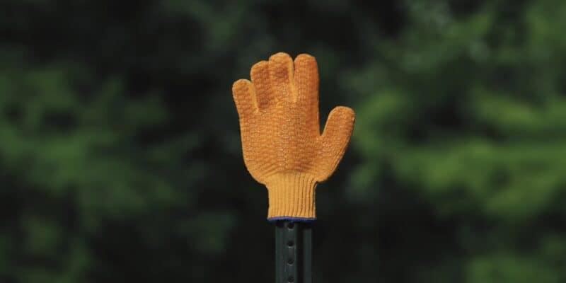 orange glove stop sign
