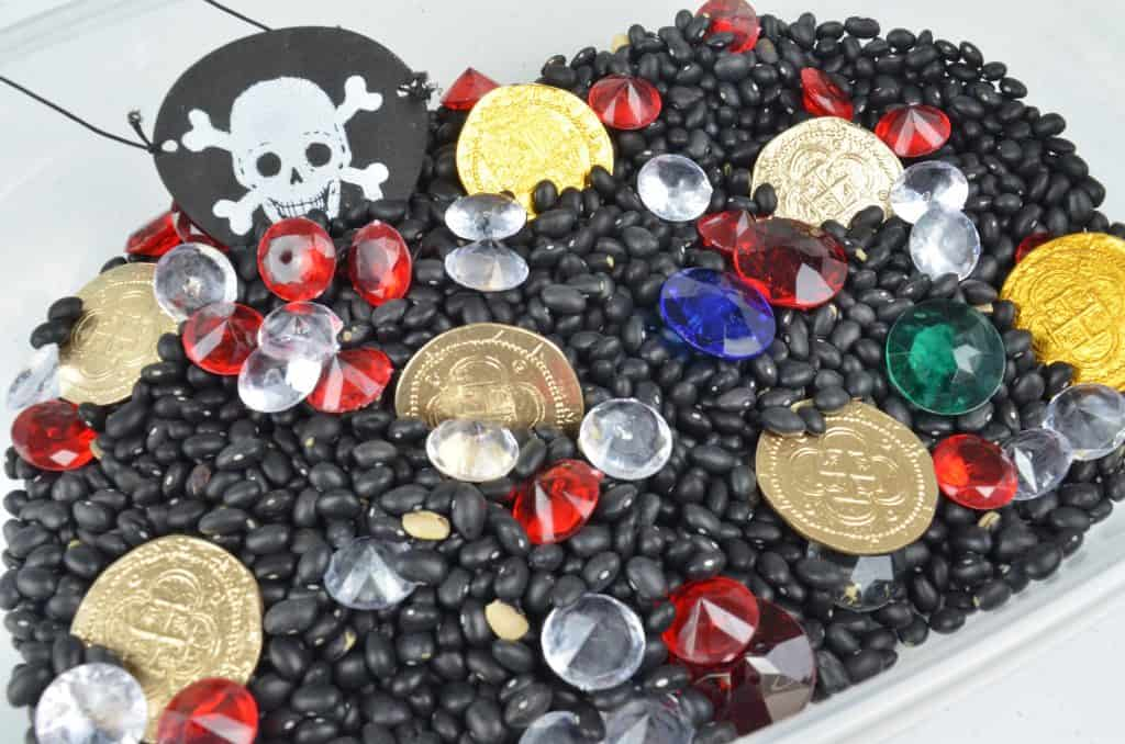 pirate themed sensory bin for pretend play
