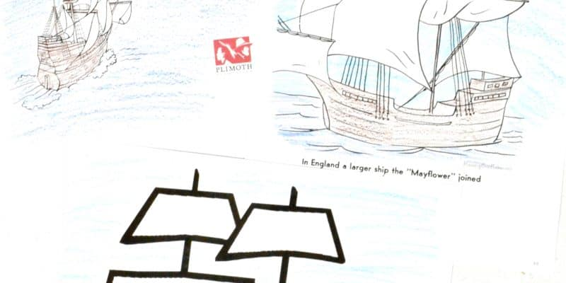 Mayflower coloring pages for Thanksgiving