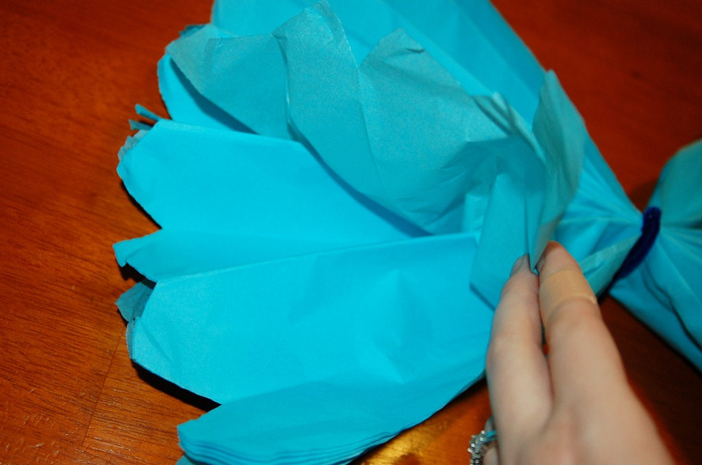 fan out blue tissue paper flower