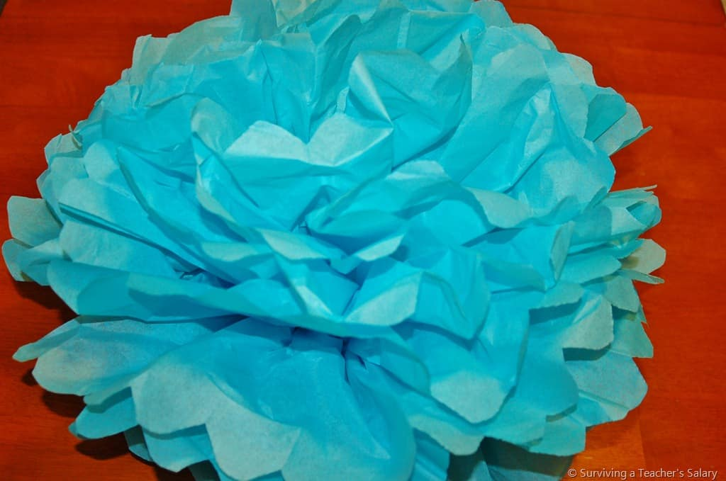 blue paper tissue flower tutorial