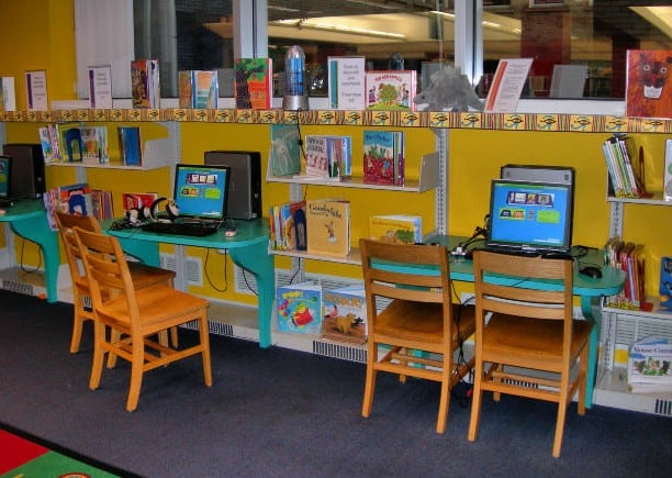school computer lab and library