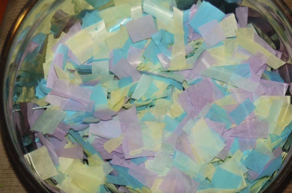 pastel tissue paper pieces
