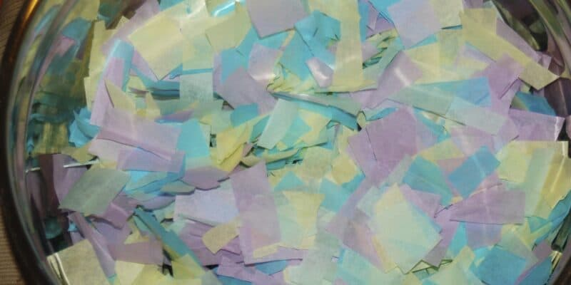 pastel tissue paper pieces