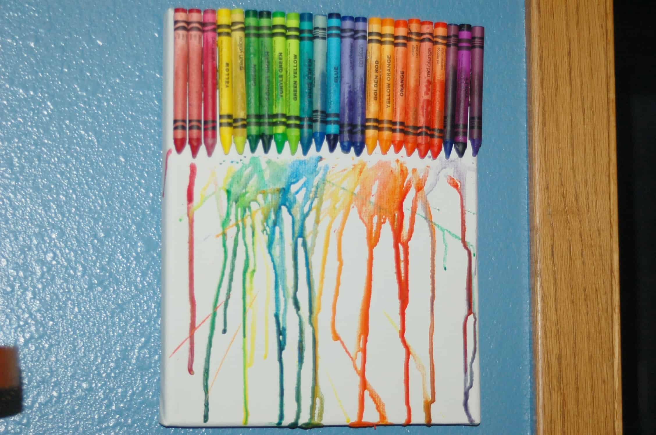 Melted Crayon Canvas Craft Use Up Those Cheap Crayons