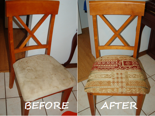 simple tutorial on how to reupholster dining room chairs. Black Bedroom Furniture Sets. Home Design Ideas
