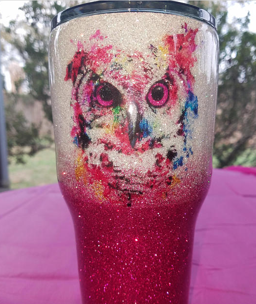 Custom made Owl Glitter Tumbler on Etsy