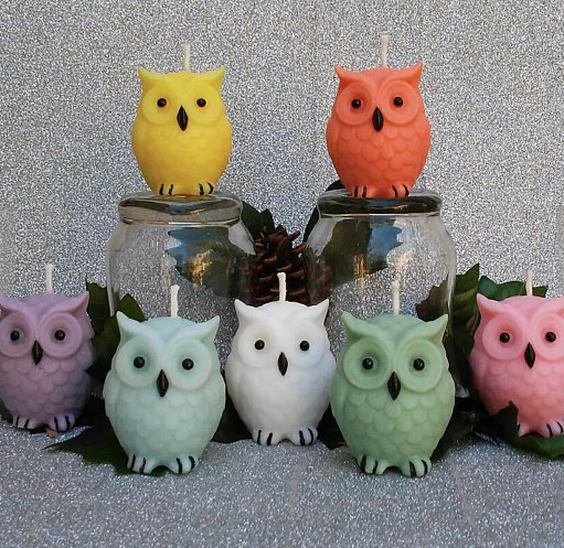 Owl Candles set on Etsy