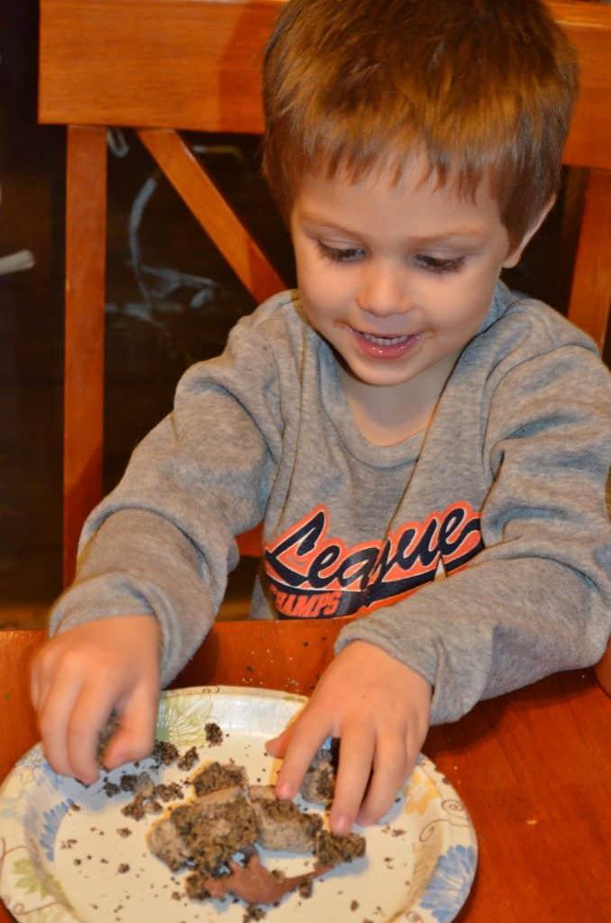 boy digging a dinosaur egg dig kit
