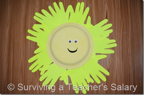 yellow sun paper plate craft