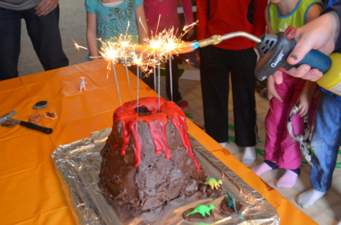 Dinosaur Volcano Cake candles