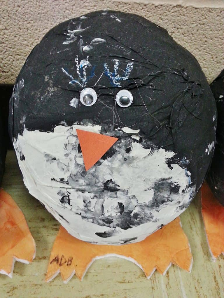 penguin paper mache