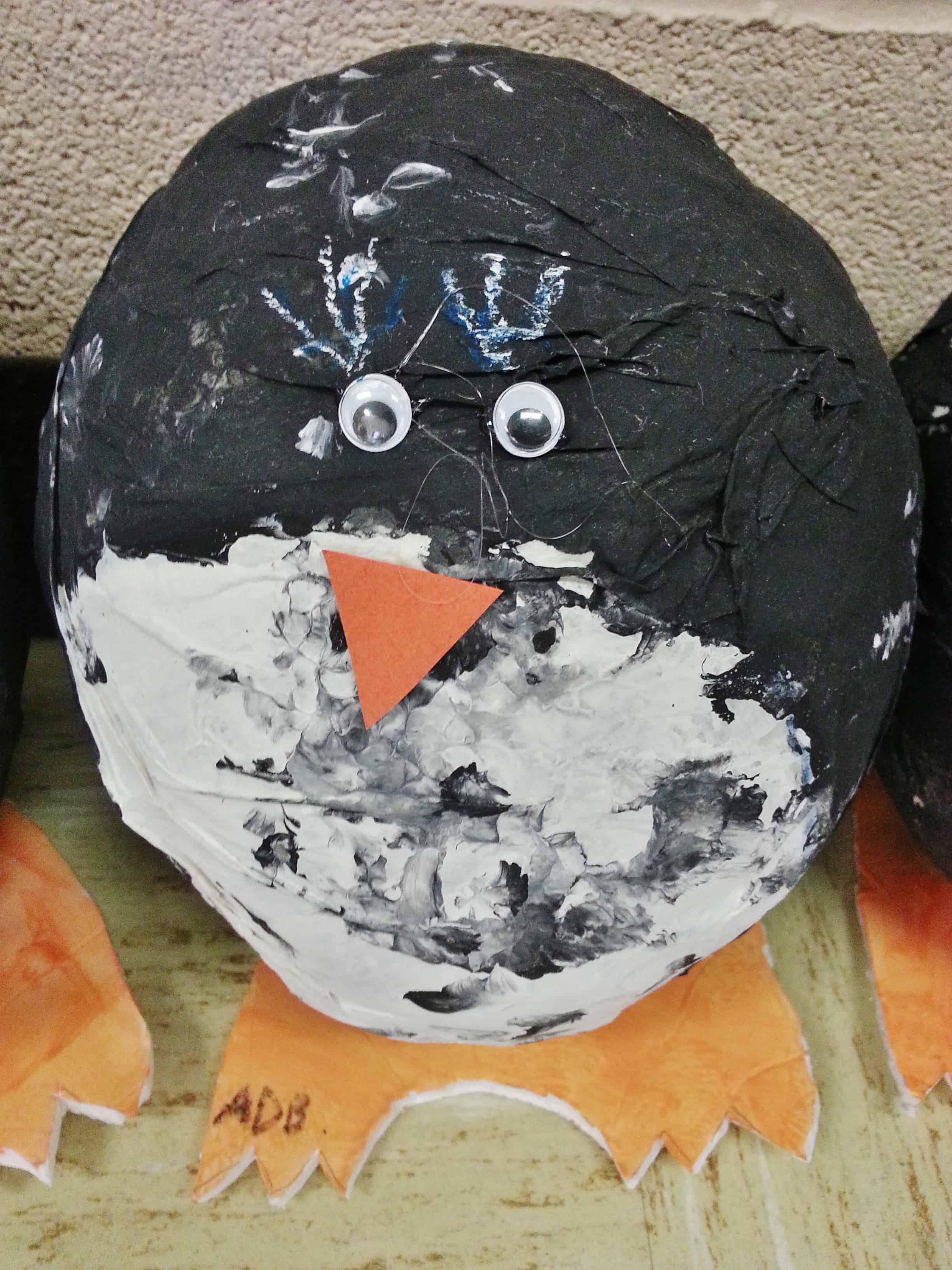 Volcano Orange Paint >> Paper Mache Penguin Project for Kids & Classrooms