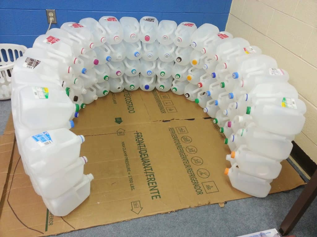 igloo made from gallon jugs