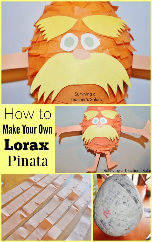 How to Make Your own Dr Seuss Lorax Pinata Tutorial