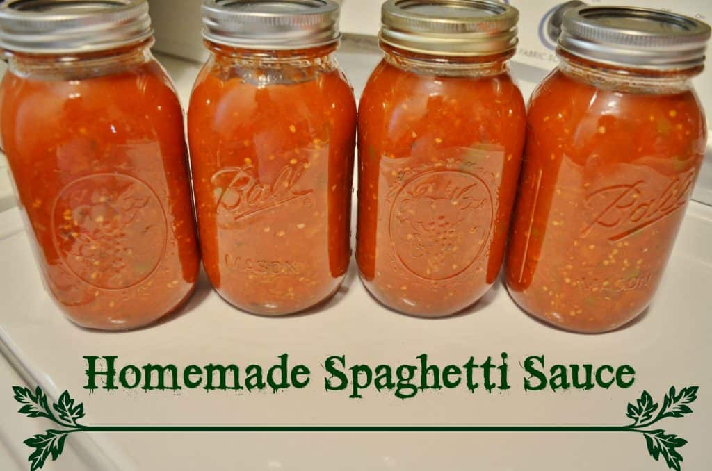 4 jars of Homemade Spaghetti Sauce Canning Recipe
