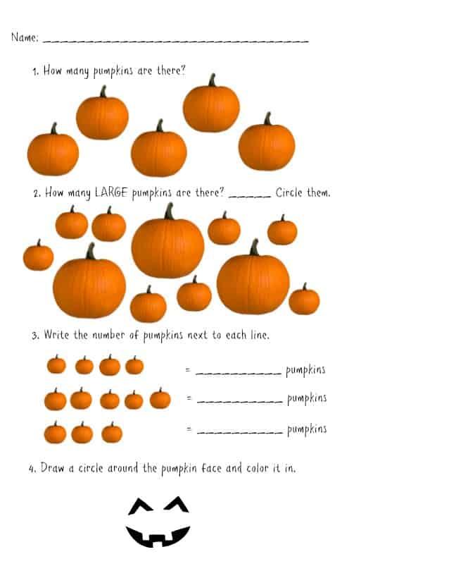 Pumpkin Math Worksheet