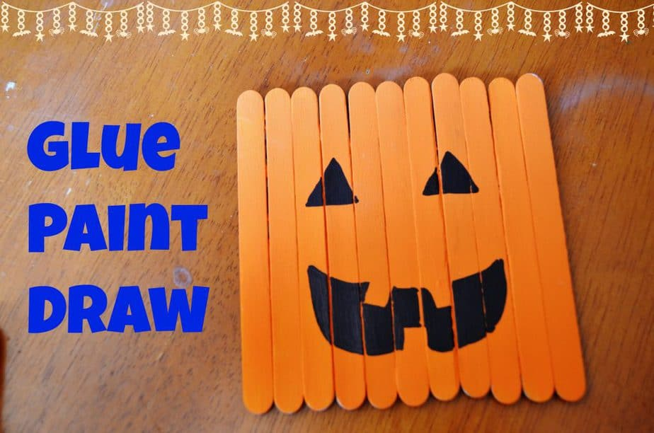 halloween stick pumpkin craft