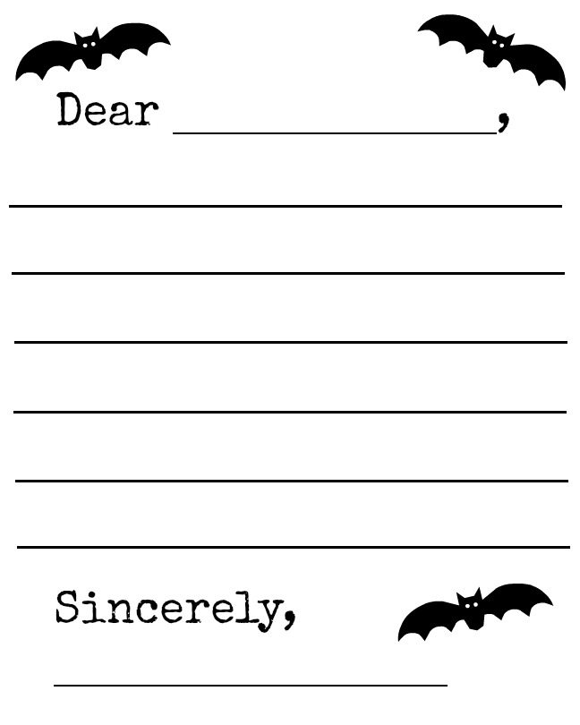 Halloween Bats Letter Template Printable