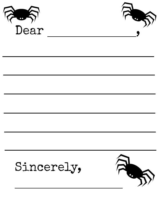 image regarding Printable Letter Templates identified as Absolutely free Spider Bat Letter Template Printable