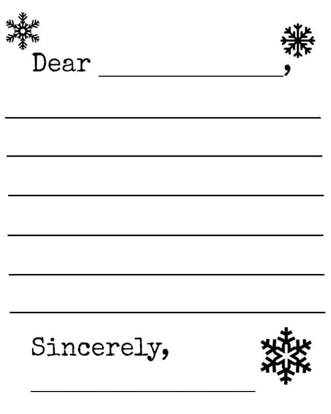 letter format for kids free snowflake and snowman winter letter template printable 27367