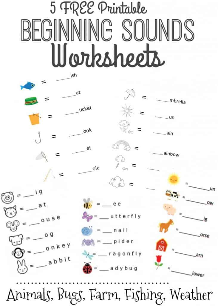 5 Free Printable Beginning Sounds Letter Worksheets