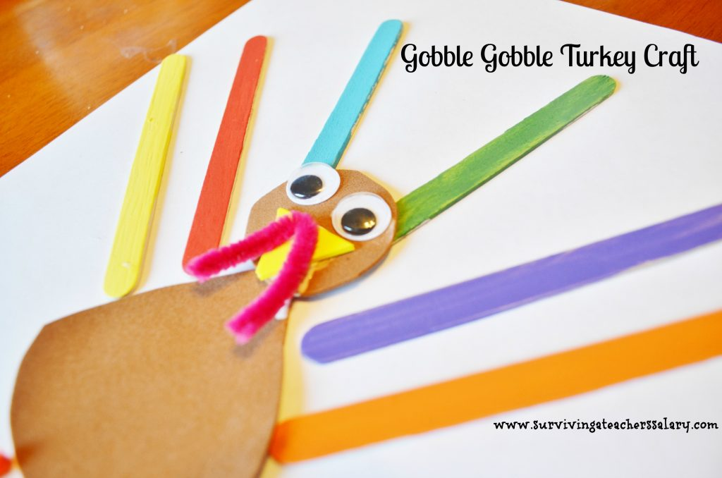 Thanksgiving Turkey Craft Sticks Craft for Kids - Gobble Gobble