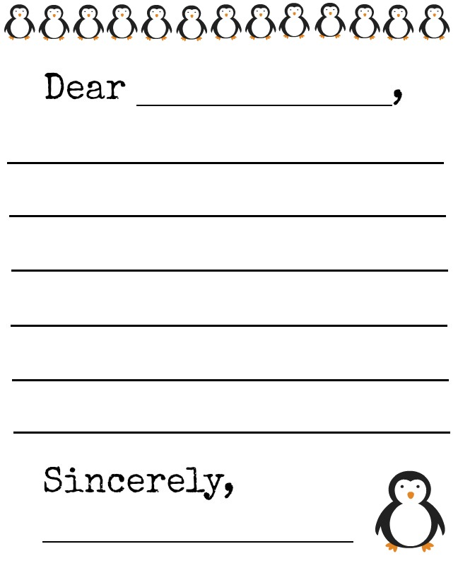 letter template for kids free penguin letter template and gift tags printables 1441