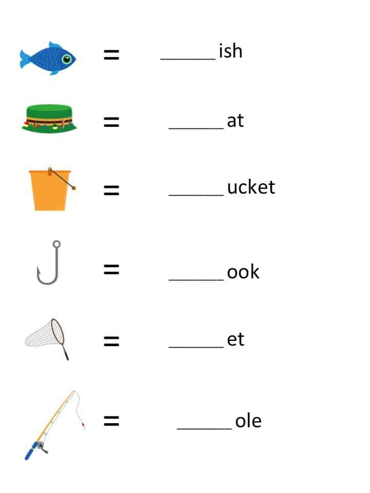 Fishing themed printable Beginning Letter Sounds Worksheet for kids