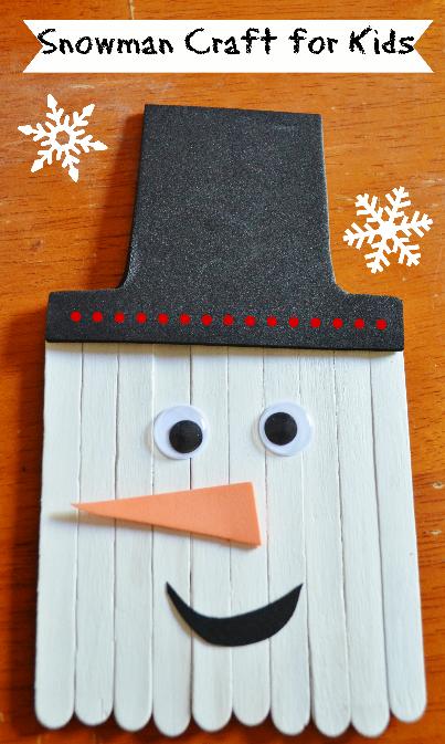 Snowman Craft Stick Winter Craft for Kids