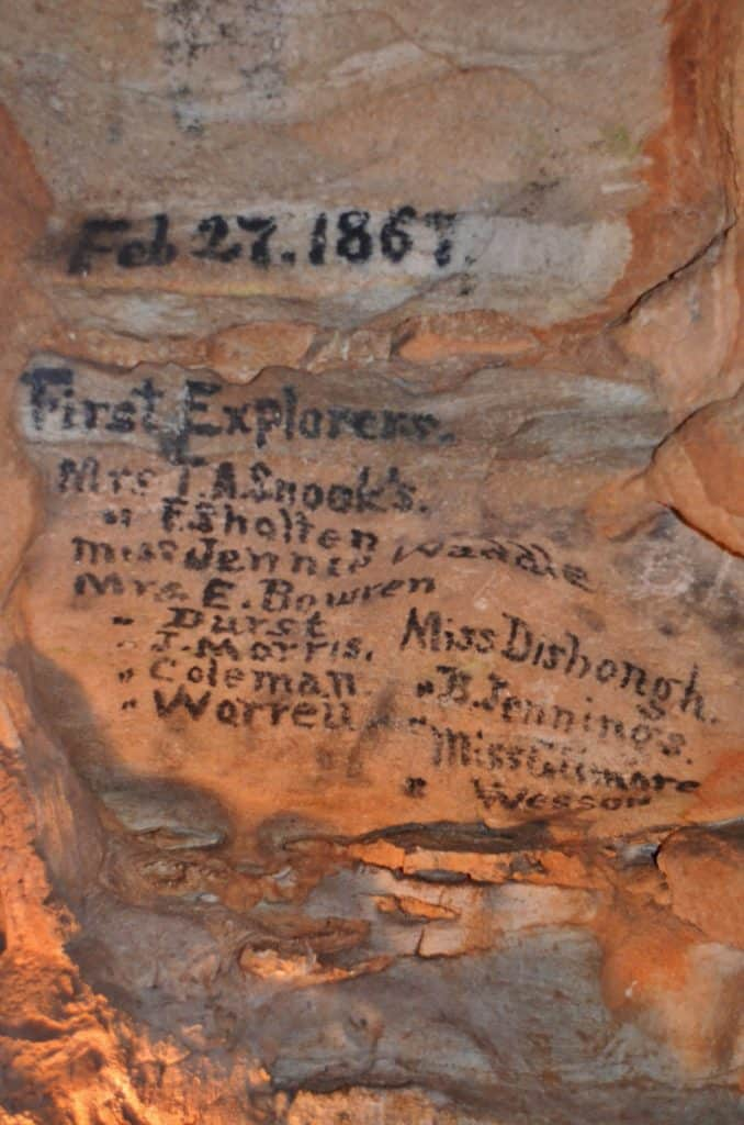 1867 early explorer names in cave rock in Missouri