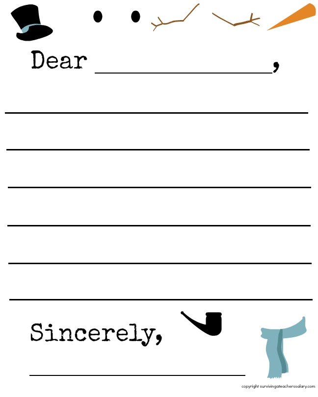 Snowman Letter Template: Worksheets For Kindergarten Snowman Writing At Alzheimers-prions.com