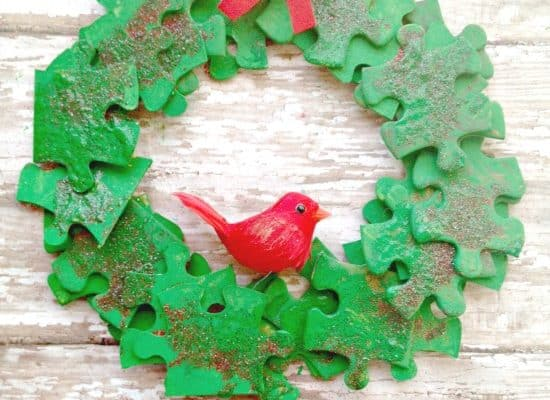 Puzzle Piece Holiday Wreath Ornament Craft for Kids
