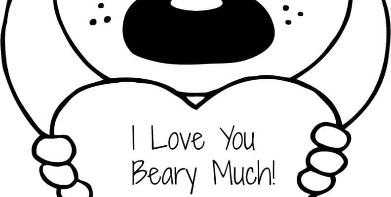 "FREE Valentine's ""I Love You Beary Much"" Coloring Page Printable"