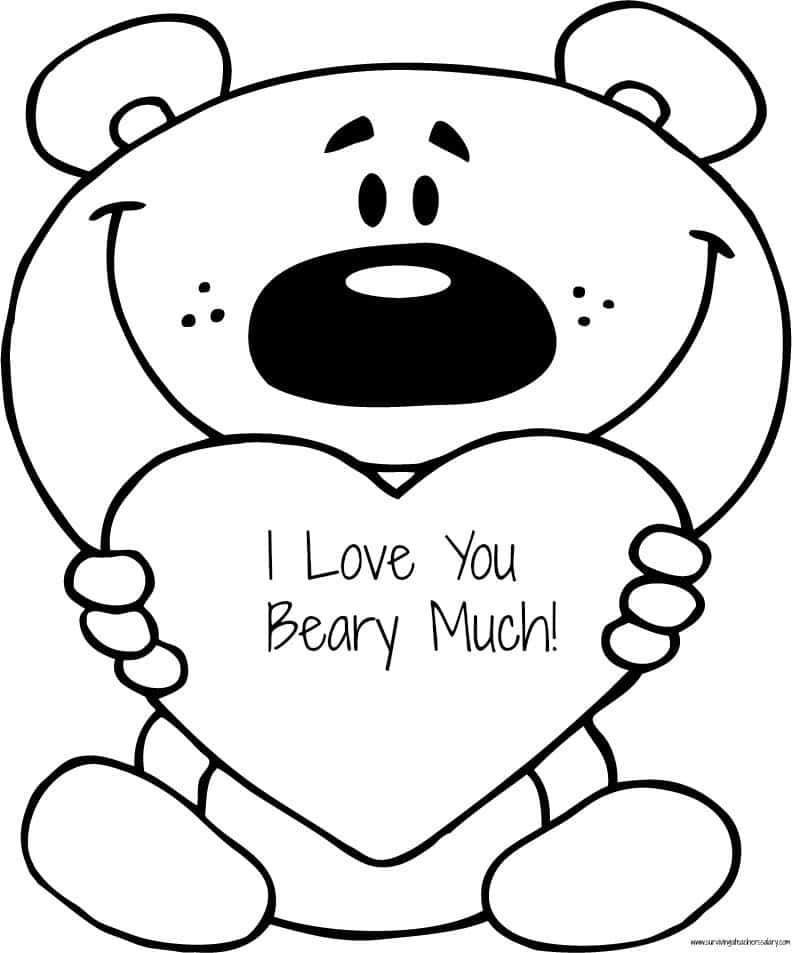 I Love You Beary Much Coloring Sheet JPG