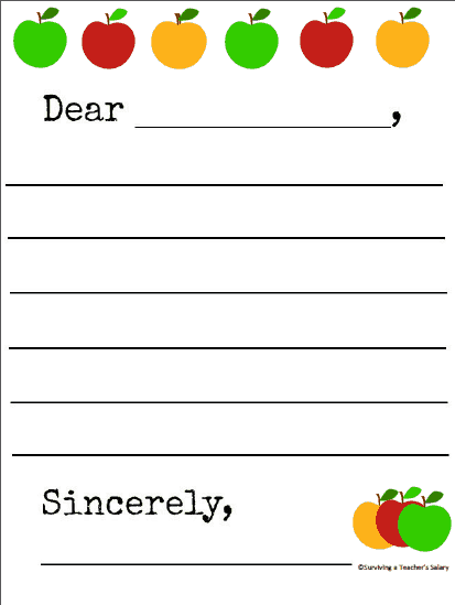 Apple Writing Letter Template Printable