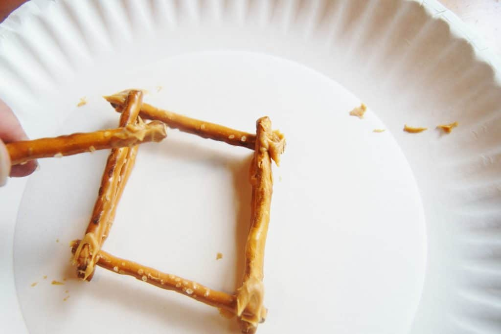 building log cabin out of pretzels
