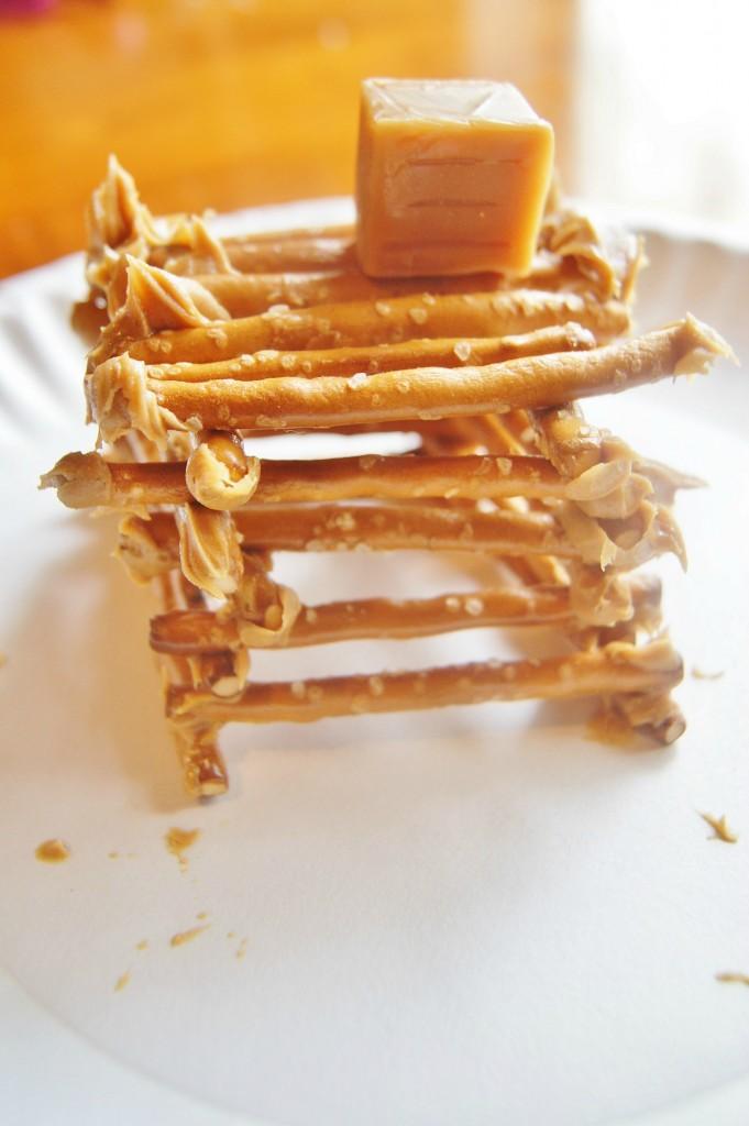 log cabin out of pretzels