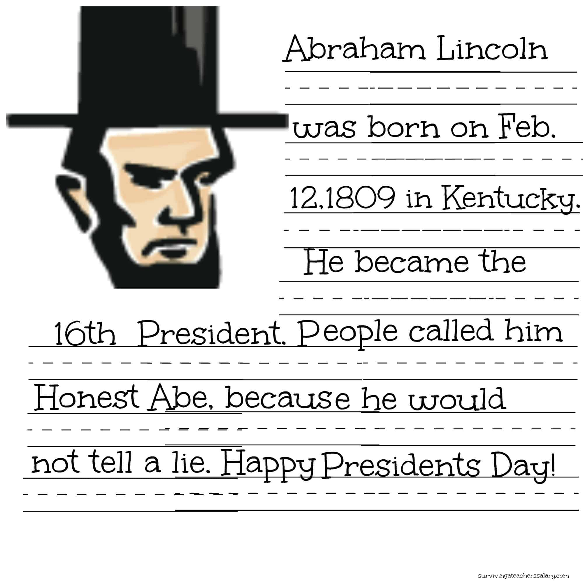 free president lincoln washington coloring sheet handwriting practice printables surviving. Black Bedroom Furniture Sets. Home Design Ideas