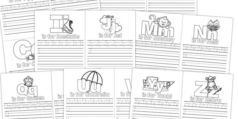 A-Z Letter Mini Book Practice Printable