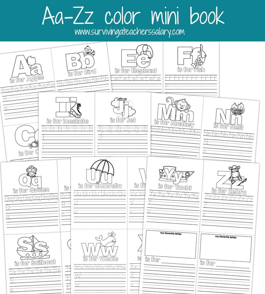 aa zz alphabet letter mini color book practice printable