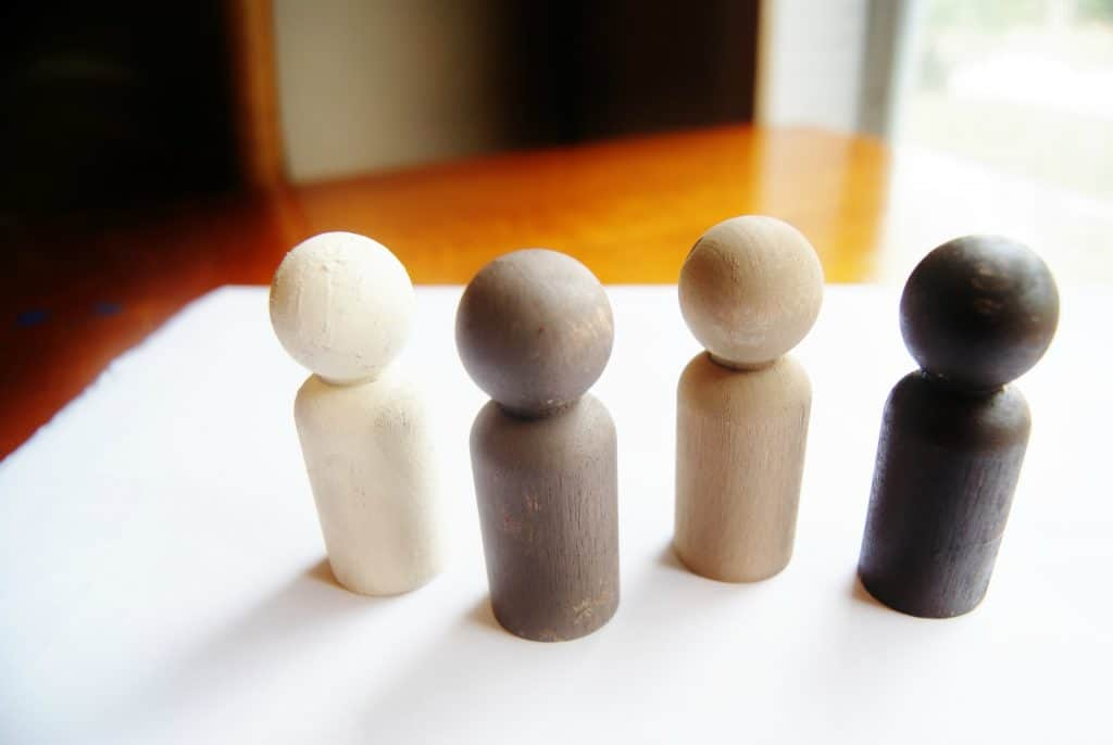 multicultural colored wooden peg craft