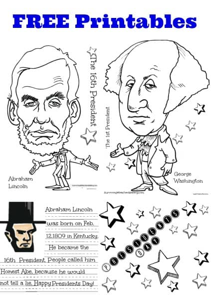 free presidents day printables coloring sheets & handwriting practice sheets