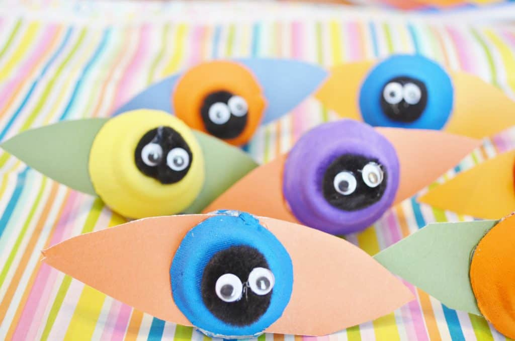 egg carton bug spring craft for kids