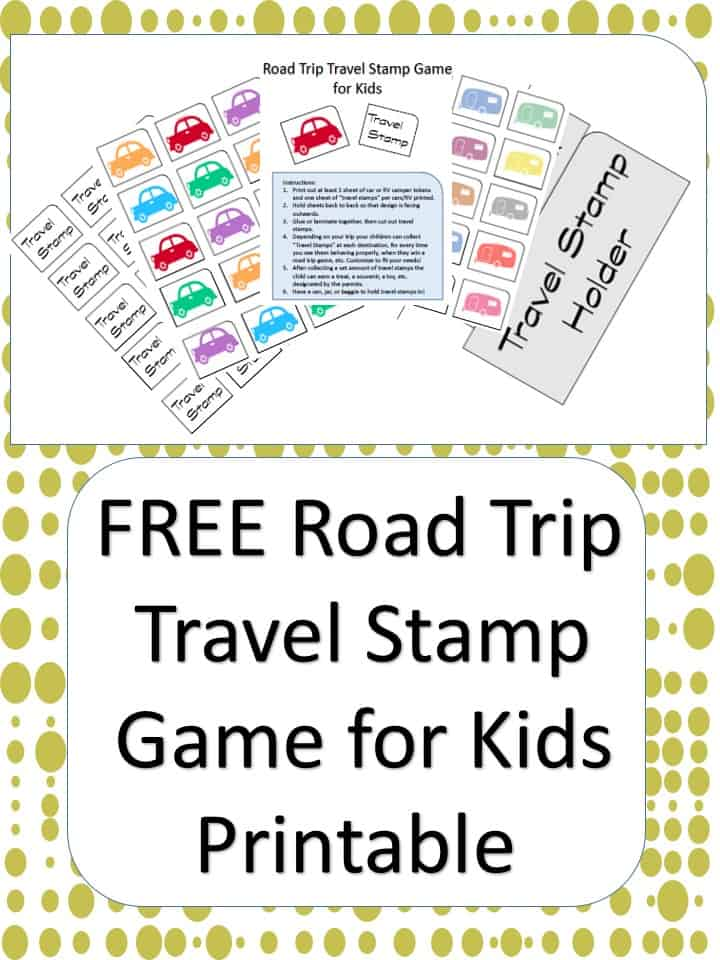 road trip travel stamp game for kids printable