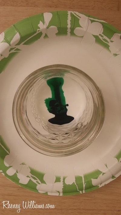 green food dye in mason jar on plate