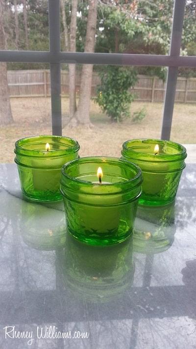 green tinted mason jars