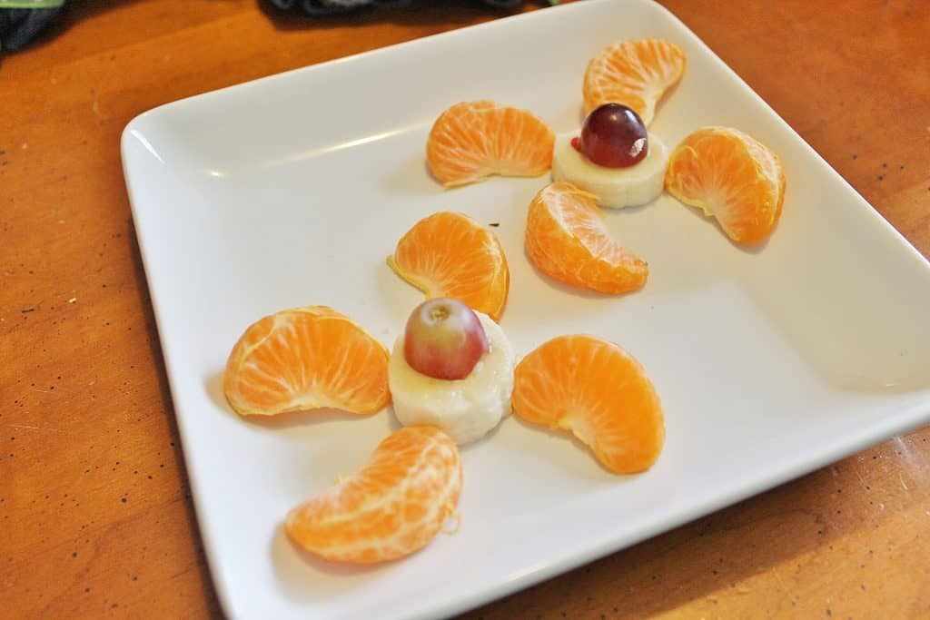 fruit airplane propellers snack - amelia earhart lesson