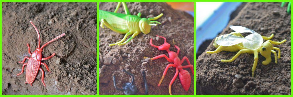 bug toys on birthday cake