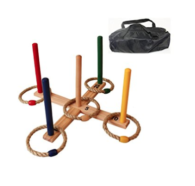 portable wooden ring toss outdoor game set for kids